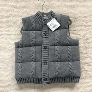 Janie and Jack Baby Boy Gray Sweater Puffer Vest
